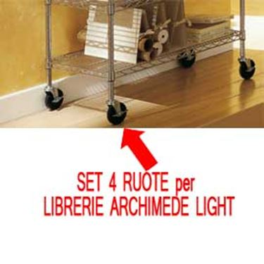 Immagine di Set Archimede Light - 4 ruote per librerie - metallo e plastica - cromato - Serena Group
