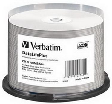 Immagine di Verbatim - Scatola 50 CD-R Data Life Plus - spindle 1X-52X - 43745 - 700MB