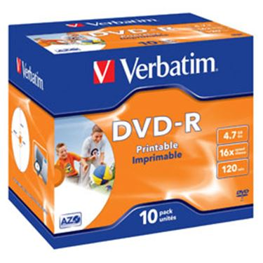 Immagine di Scatola 10 dvd-r j.case 16x 4.7gb 120min. wide photo stamp ink-jet