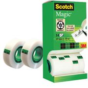 Immagine di Nastro adesivo Scotch® Magic™ 810 - invisibile - permanente - 19 mm x 33 mt - trasparente - Scotch® - Multi Pack 12+2 rotoli