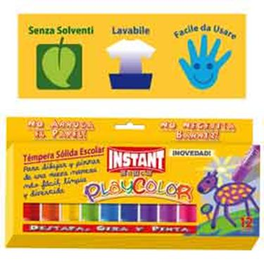 Immagine di Tempera solida in stick Playcolor - 10gr - colori assortiti - Instant - astuccio 12 stick
