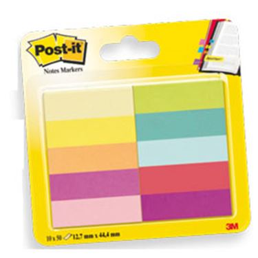 Immagine di Segnapagina Post-it® in carta - 12.7x44 mm - 10 colori assortiti - blister 500 segnapagina