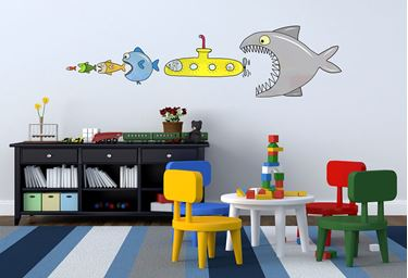 Immagine di Adesivi murali removibili-big fish eat y submarine - size m 33,5x42 wallskin