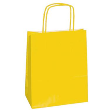Immagine di 25 shoppers carta kraft 18x7x24cm twisted giallo