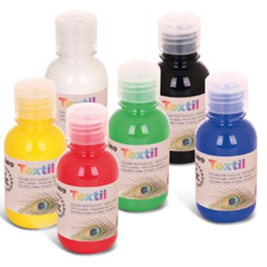 Immagine di Box 6 colori assortiti 125ml per tessuti primo