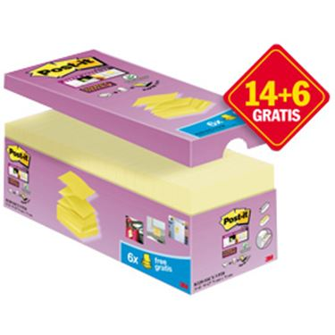 Immagine di Blocchetto Post it® Super Sticky Z Notes - giallo Canary™ - per dispenser - 76 x 76mm - 90 fogli - Post it® - conf. 20 blocchi